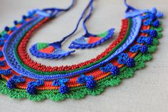 Beaded crochet fiber necklace with cornflower blue indigo