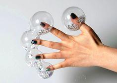 "CSM (St Martins 2013) Natha Khunprasert -  Finger tips: SWAROVSKI crystals, acrylic - ""caging sensation...."""