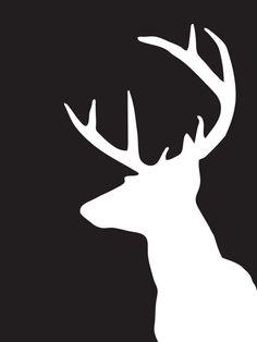 Deer Head Silhouette Black and White Print от MelindaWoodDesigns