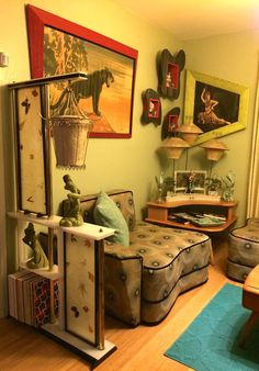 Carlo of Hollywood Paintings, Moss Room Divider, Heywood Wakefield Corner Table, Moss 3 Lampshade Spinner Lamp, Amoeba Chair & Amoeba Shadowboxes