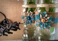 Burlap and lace mason jars Decorated mason jar set by QUEENBEADER, $16.50