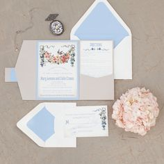 Pastel blue and blush invitation suite.  Love the floral touches and the bird!  Secret Garden Styled Shoot, invitations by Bellus Designs LLC