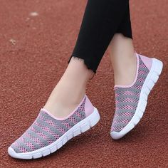 Shoes Woman Breathable Mesh Sneakers For Women Ballet Flats Ladies Sneakers Loafers Trainers Women Zapatillas Mujer Casual Shoes Outfit Accessories From Touchy Style | Black, Blue, Casual Shoes, Flat, Pink, Red, White. | Free International Shipping.