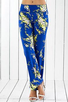 $11.08 Retro Floral Print Wide-Leg Exumas Pants