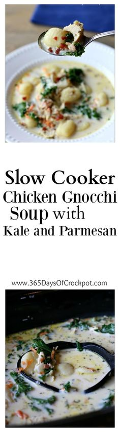 Slow Cooker Chicken Gnocchi Soup with Kale and Parmesan: A cream based soup with tender, moist bites of chicken, bacon crumbles, bright green leafy kale and dumpling-like gnocchi. This soup is a 10 out of 10 at my house. If I start a soup restaurant and can serve only 3 soups this will be one of them.