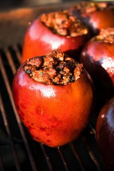 Grilled Apples Stuffed with Sausage & Sage on the Grill  (butter, onion, celery, sausage, sage, salt, pepper, maple syrup, apples)