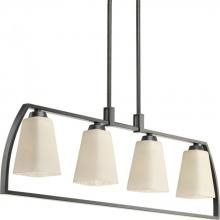 Progress P4698-84 - Four-light linear chandelier with square etched watermarked glass