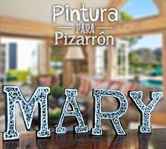 Letras de Madera con Pintura para Pizarrón / Decoración para el hogar/ Letras Negras / Mary