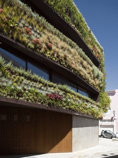 House in Lisbon by Luís + Tiago Rebelo de Andrade + Manuel Cachão Tojal.  #architecture #design #house #home #residentialdesign #greendesign #greenwall #moderndesign #modernarchitecture