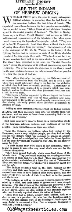 are the indians of jewish origin the literary digest 1912