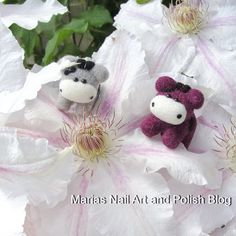 The tiny Moo Moos from Moo Moo Signatures sure look small on this gorgeous clematis...