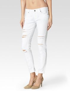 PAIGE is dedicated to designing the pieces you'll live in. Explore our lifestyle collection of premium denim jeans and apparel for men and women. White Ripped Jeans, White Distressed Jeans, Paige Denim, Super Skinny Jeans, Boyfriend Jeans, Denim Jeans, Jimmy Jimmy, Clothes For Women, Polyvore