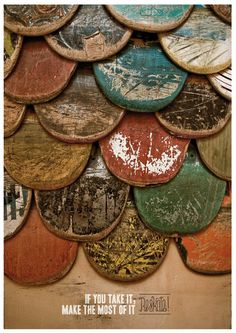distressed skateboards - remind me of fish-scale siding on victorian homes