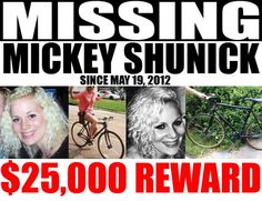 Sadly, Mickey's body was recovered in Aug, 2012. There has been an arrest for her murder and he s awaiting trial. RIP.
