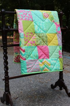 Moda Spring House Baby quilt with a by LemonadeQuiltsCrafts, $90.00