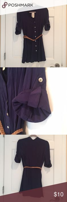 NWT Navy Blue Woven Button Down Dress NWT!!  Purchased this dress from Forever 21 and it was too short for my liking. It is a size small with sleeves that can be rolled up or down for your desired look. It comes with the belt to complete the look Forever 21 Dresses Mini