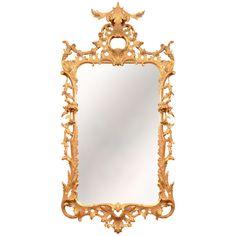 A Fine George II Gilt Wood Mirror   1stdibs.com #Rococo #gold #scrolls #leaves #gilt #carved #scrolls #leaf #antique #antiquemirror #mirror #floral