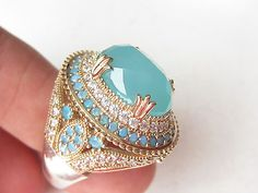 925 Sterling Silver Turkish Handmade Hurrem Aquamarine Quartz Ring Size 8 Oval
