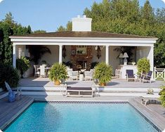 Cabana Cool The Long Island weekend house of fashion designer Dennis Basso features a tile-bordered pool, mahogany deck, and spacious columned poolhouse with plenty of seating. It's a sublime setting for entertaining all summer long. Pool House Designs, Swimming Pool Designs, Swimming Pools, Indoor Swimming, Outdoor Rooms, Outdoor Living, Outdoor Furniture, Outdoor Seating, Adirondack Furniture