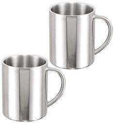 e95921aab7b COM-FOUR® 2 Kaffeebecher aus Edelstahl, Kaffeetasse je 260 ml, Kaffeepott (