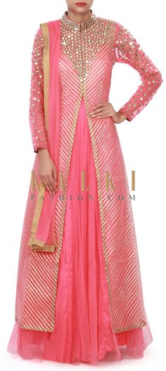 Buy Online from the link below. We ship worldwide (Free Shipping over US$100) Price-$279 Click Anywhere to Tag http://www.kalkifashion.com/coral-pink-anarkali-suit-adorn-in-gotta-patti-and-mirror-embroidery-only-on-kalki.html