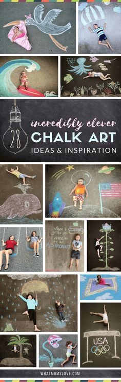 Sidewalk Chalk Art Ideas for Kids These creative driveway illusions are totally awesome! Easy drawings to incorporate your baby, child or teen. Plus tons of other sidewalk chalk games and activities for outdoor summer fun. Art Ideas For Teens, Art For Kids, Crafts For Kids, Arts And Crafts, Fun Ideas, Sidewalk Chalk Games, Sidewalk Art, Colegio Ideas, Foto Newborn