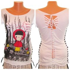 White Cut Up Tshirt Refashioned Reconstructed by SimpleWisdom Tight Shirts, Ripped Shirts, Cut Shirts, Refashioned Clothing, Upcycled Clothing, Cut Up T Shirt, Shirt Refashion, Red Riding Hood, Wearable Art