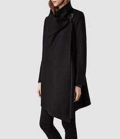 All Saints Womens City Monument Coat (Black) - when its closed $505