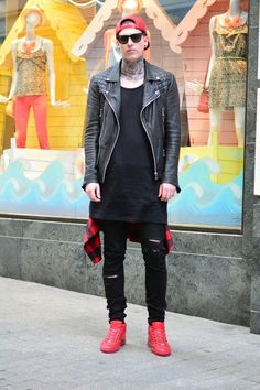 Mens Fashion Red Shoes - Since the winter is approaching, the clothes stores and divisions have begun putting up winter ap Red Sneakers Outfit, Red Shoes, Leather Jacket, Mens Fashion, Jackets, Lawyer, Outfits, Clothes, Fashion Styles