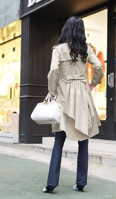 cute bow trench