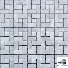 White Carrara Honed Mosaic Target