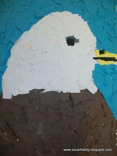 Bald eagle torn paper craft