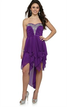 Deb Shops Strapless #Prom #Dress with Stone Neckline and Hanky Hem Skirt $74.90