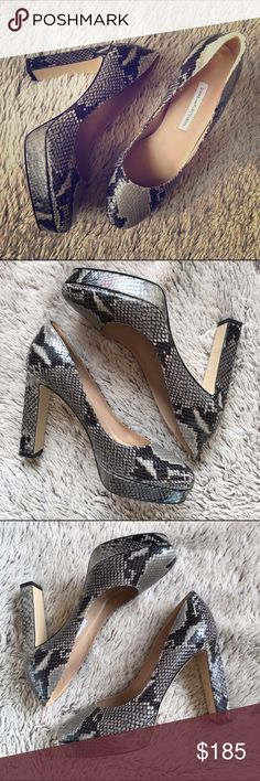 """❤️HPx2❤️Diane von Furstenberg PlatformsNIB Gorgeous Diane von Furstenberg grey embossed python 'Michelle' leather pumps.  Heel measures approx 4.25"""" platform is approx 1"""". Round toe pump with a concealed platform and block heel. Leather soles. Made in Italy. Comes with original box and dust bag. Never worn Diane von Furstenberg Shoes Heels"""