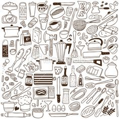 kitchen tools - doodles collection Royalty Free Stock Vector Art Illustration
