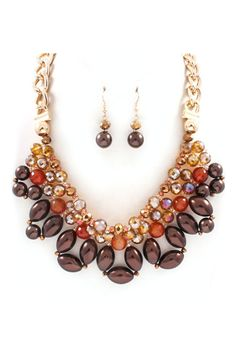 Nicolette Necklace Set in Amber Agate on Emma Stine Limited