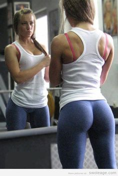 I wanna be in shape too, but i'm so sick of seeing pictures like this. who wants to work out with a wedgie, in a regular bra, or worse in underwear like most of these pictures. come on people!