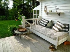 Outdoor Porch Beds That Will Make Nature Naps Worth It Cottage porch bed Outdoor Porch Bed, Outdoor Seating, Outdoor Spaces, Outdoor Living, Outdoor Decor, Patio Bed, Porch Bench, Cheap Modern Furniture, Country Furniture