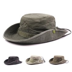 Mens Cotton Embroidery Bucket Hat Outdoor Fishing Hat Climbing Mesh  Breathable Sunshade Cap f81f252d9d4e