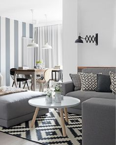 The gray color is very often in housing in Nordic style. Except this color, they use and other neutral colors. Of course, there are always discrete details that complement the entire space.