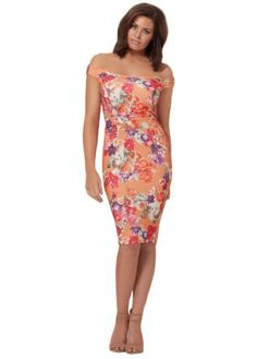 Jessica Wright Jada Off The Shoulder Pink Floral Pencil Dress. Perfect new  season Jessica Wright dresses online here now.
