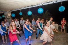 monastiri wedding party, rice balls, blue balls, blue deco wedding