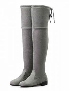 Shop Gray Suedette Pointed Laced Back Over The Knee Flat Boots from choies.com .Free shipping Worldwide.$92.9
