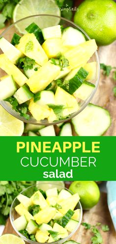 This Pineapple Cucumber Salad is a simple side dish recipe with amazing flavor! Healthy too! It's so easy because it's ready in under 10 minutes. Healthy Side Dishes, Side Dishes Easy, Side Dish Recipes, Barbecue Side Dishes, Barbecue Sides, Sandwich Sides, Pineapple Recipes, Healthy Salad Recipes, Healthy Food