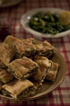 hortopita - greek traditional pie with wild greens and feta