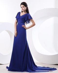 Chic Chiffon Pleat V-neck Sleeveless Bridesmaid Dress
