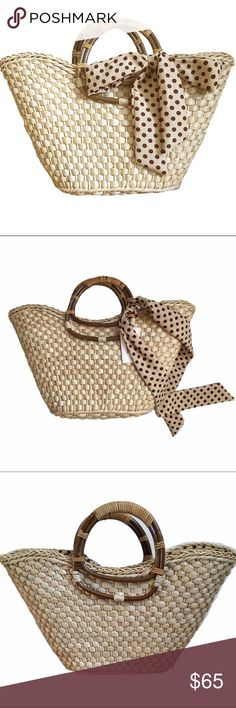 Posh Summer Trends Report:  Straw Tote! NWT This adorable straw tote is fully lined with polka-for fabric. It has a neat feature. The lining can lift out and has a drawstring closure that helps to fit and secure more things OR you can leave it inside as a full line. Inside zip pocket too! Double wooden handle. Wide bottom. Pretty bow and scarf detailing at front. So cute! Check out the Poshmark Summer Trends Report--Straw is on the hot list! 🔥😃💕 Straw Solutions Bags Totes