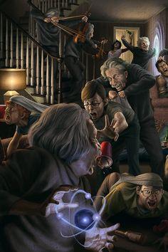 Go Einstein :) Illustration by Sergio Araya Caneo Arte Horror, Horror Art, Science Fiction Art, Science Art, Dark Fantasy, Fantasy Art, Art Sinistre, Creepy Art, Art Graphique