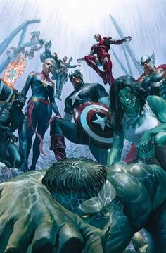 "Cover art for Immortal Hulk ""The Avengers"" Art by Alex Ross Comic Book Artists, Comic Book Characters, Marvel Characters, Comic Books Art, Comic Art, Arte Dc Comics, Marvel Comics Art, Marvel Heroes, Alex Ross"