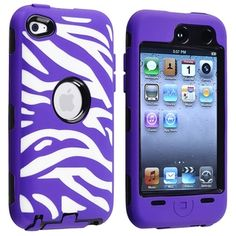BasAcc Black Hard/ Purple Zebra Hybrid Case for Apple iPod touch 4   Overstock.com Shopping - Big Discounts on BasAcc Cases